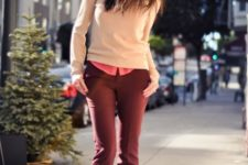 06 a pink shirt, burgundy trousers, tan peep toe booties and a blush sweater over the shirt