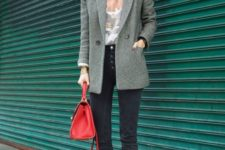 06 a printed teee, a grey blazer, black cropped skinnies with a row of buttons and metallic shoes