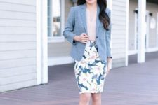 07 a floral print pencil skirt, a blush blouse with ruches, blush shoes, a grey jacket