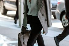 07 black cropped pants, a green shirt, black flats, a short grey coat