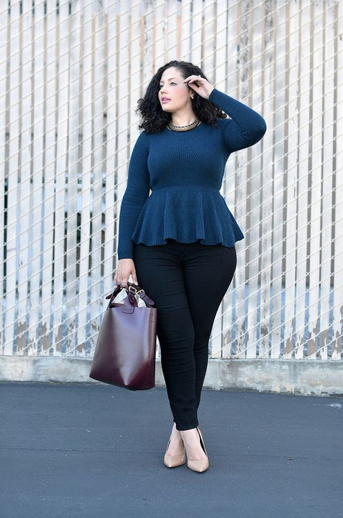 black skinnies, a navy long sleeve peplum topm nude shoes and a plum-colored bag