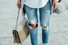 07 blue denim, a white shirt, a suede jacket, a grey coat, silver Oxford shoes