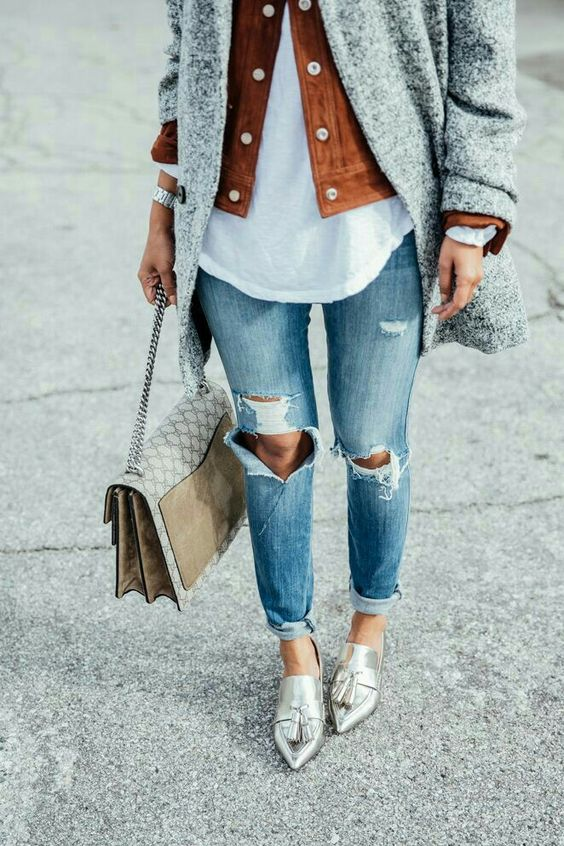 blue denim, a white shirt, a suede jacket, a grey coat, silver Oxford shoes