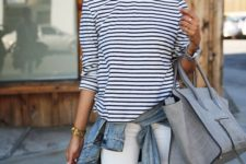 07 white ripped jeans, a striped long sleeve, a denim jacket and a grey bag