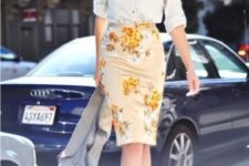 08 a floral pencil knee skirt, a gingham shirt, tan heels and a cropped grey jacket