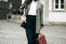 08 black high waist pants, a white shirt, white sneakers, a plaid blazer and a red bag