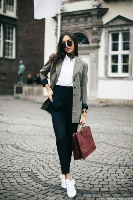 black high waist pants, a white shirt, white sneakers, a plaid blazer and a red bag