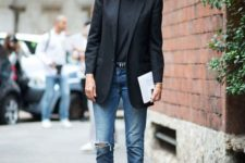 08 blue ripped boyfriend jeans, black heels, a black top and a black long blazer for a business casual look
