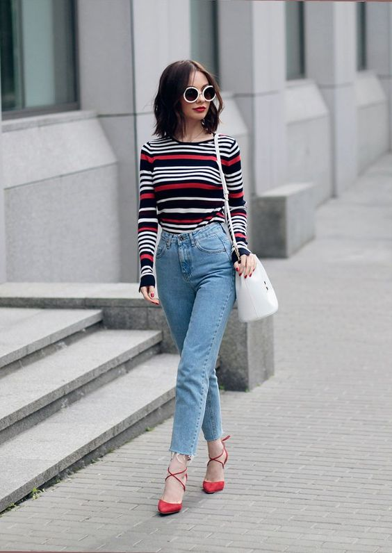 prefer a bold print like stripes instead of embroidery for your top