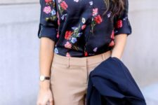 09 a classic floral blouse styled for the office with tan pants, a tan bag, a navy blazer