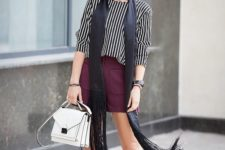 09 a vertical stripe top, a burgundy leather mini with pockets, burgundy suede shoes and a white bag