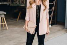 09 blush shoes, black leather leggings, a black top, a blush long blazer and a matching clutch