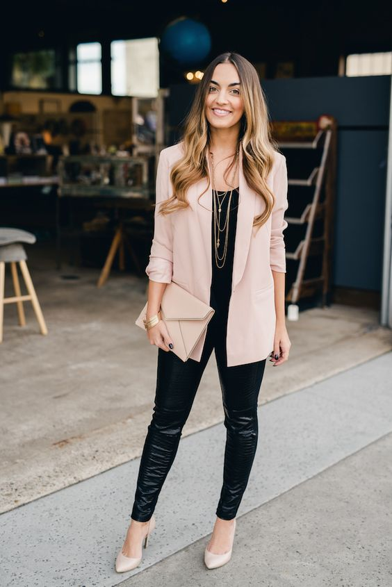 blush shoes, black leather leggings, a black top, a blush long blazer and a matching clutch