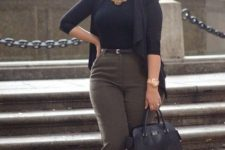 09 olive green cropped pants, a black turtleneck, a black cardigan, a statement necklace and black flats