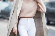09 white high waisted jeans, a blush crop sweater, a neutral coat and a burgundy bag