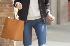 09 white sneakers, ripped and cropped jeans, a grey long sleeve, a black bomber jacket