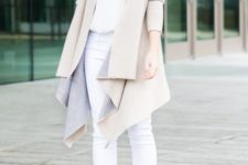 10 a white top, white jeans, nude shoes and a tan asymmetrical coat for a neutral look