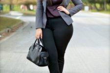 10 black pants, a plum-colore dtop, a grey jacket, peep toe shoes