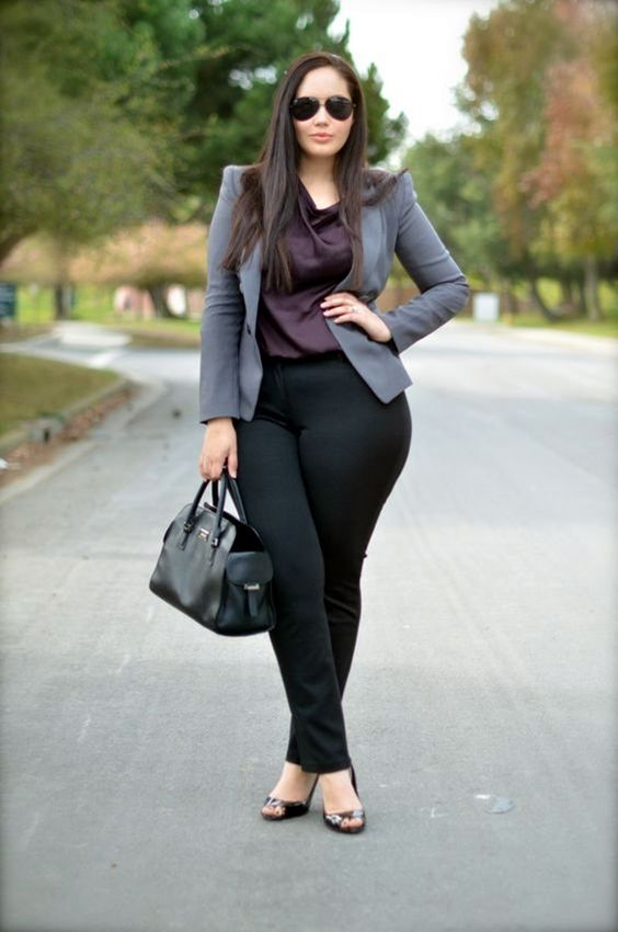 black pants, a plum-colore dtop, a grey jacket, peep toe shoes