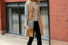 10 black pants, a striped top with long sleeves, a camel long vest and red shoes