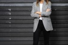 10 black skinnies, a white tee, a long printed blazer and black heeled sandals for a professional look
