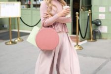 11 a dusty pink sweater, blush culottes, dusty pink strap shoes and a pink round bag