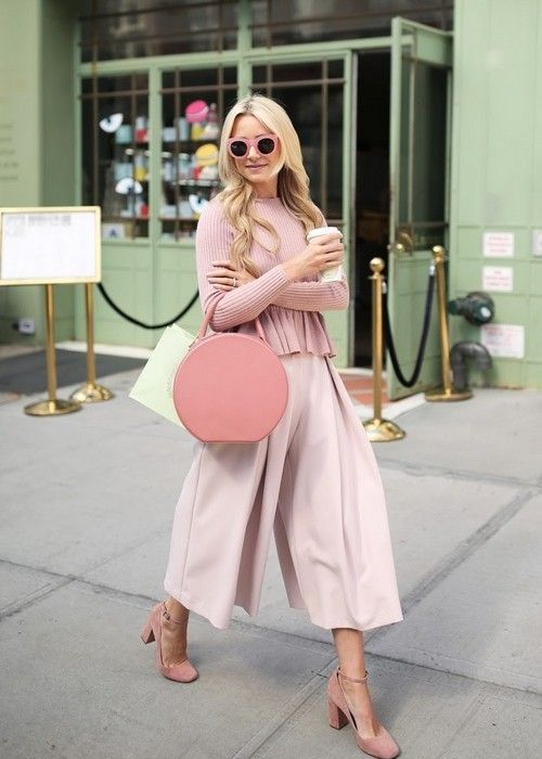 a dusty pink sweater, blush culottes, dusty pink strap shoes and a pink round bag