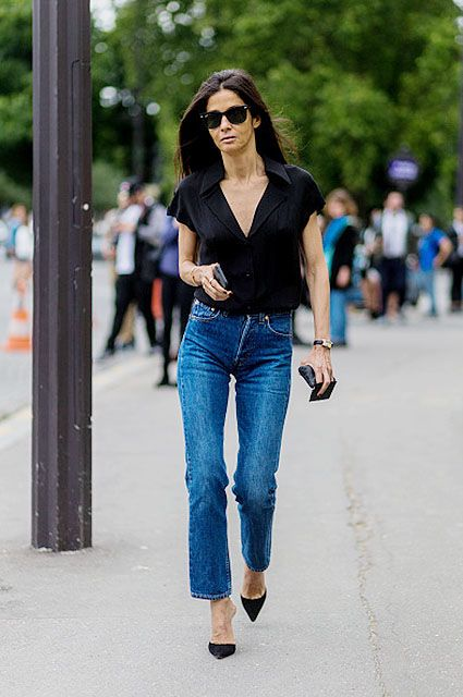 PARIS, FRANCE - JULY 05: Barbara Martelo wearing a black blouse and navy denim jeans outside Chanel during Paris Fashion Week Haute Couture F/W 2016/2017 on July 5, 2016 in Paris, France. (Photo by Christian Vierig/Getty Images)