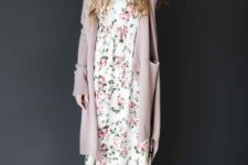 12 a floral maxi dress, a long blush cardigan, matching boots and a hat for a boho relaxed look