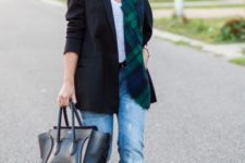 12 blue ripped boyfriend jeans, a white tee, a black blazer, emerald shoes and a matching checked scarf