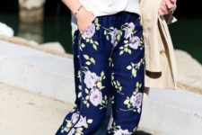12 navy floral print pants, a white shirt and nude heels plus a neutral trench for spring
