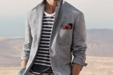 12 neutral pants, a striped t-shirt, a light blue jacket and sunglasses to go the seaside