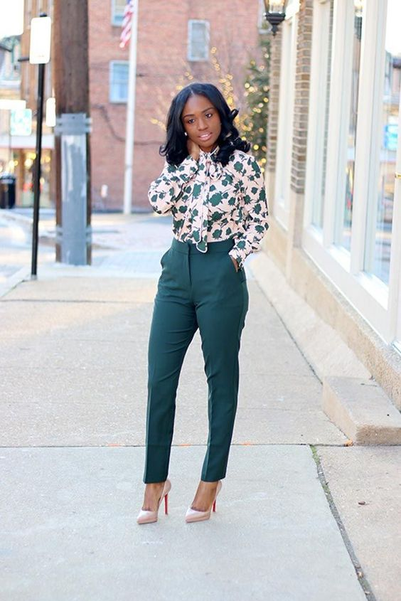 emerald trousers, a botanical print shirt, nude heels for a stylish aspring inspired look