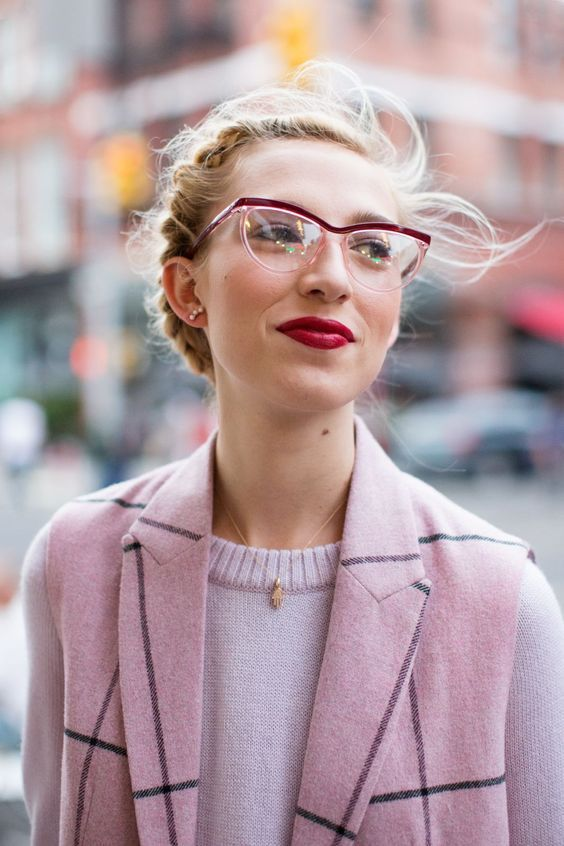 eye-catchy partly red and partly clear rimmed glasses for a trendy look