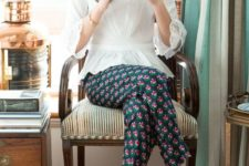13 nude flats, retro floral pants and a vintage-inspired blouse with lace sleeves