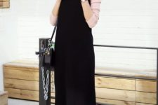 14 a pink long sleeve, a black overall, white sneakers and a black bag