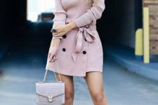 14 a pink one shoulder top, a matching button down skirt, a neutral bag and pinted shoes