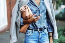 14 blue jeans, a vertical striped shirt in blue and white, a dove grey jacket