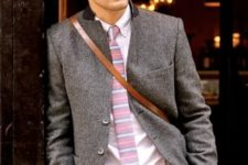 14 tan pants, a white shirt, a woolen blazer and a pink striped tie to go to work
