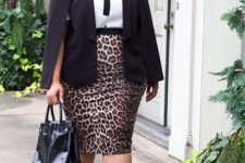 15 a leopard print pencil skirt, a white blouse with a black bow, a black blazer and shoes