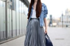 15 a white top, a grey pleated midi skirt, a blue denim jacket and white sneakers for a rock feel