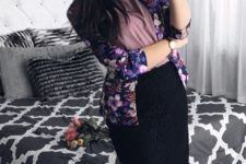 16 a black pencil skirt, a dusty pink top, a floral blazer and black heels