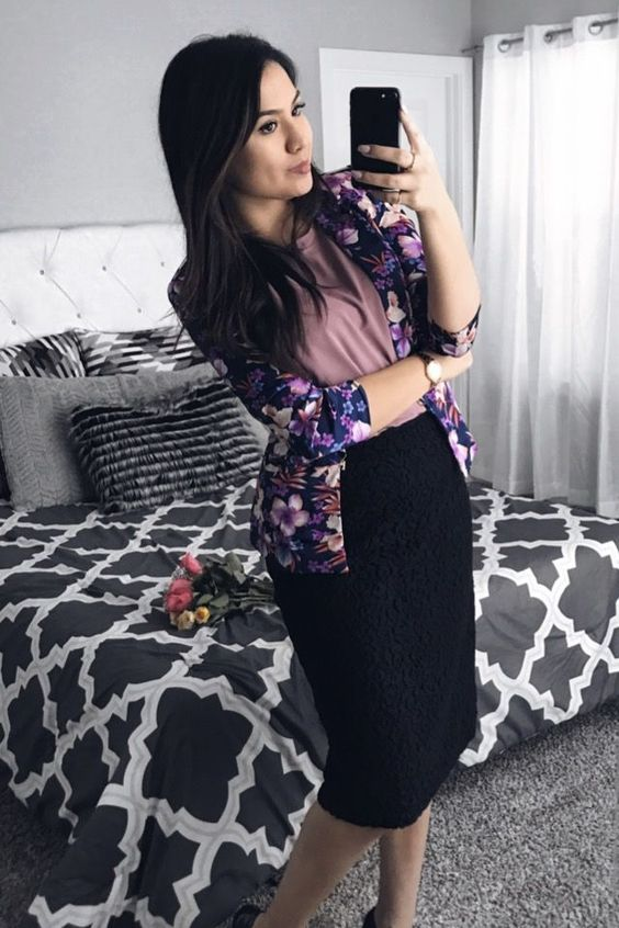 a black pencil skirt, a dusty pink top, a floral blazer and black heels