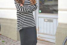 16 a striped long sleeve, a black midi skirt, black slipons is a very comfy option