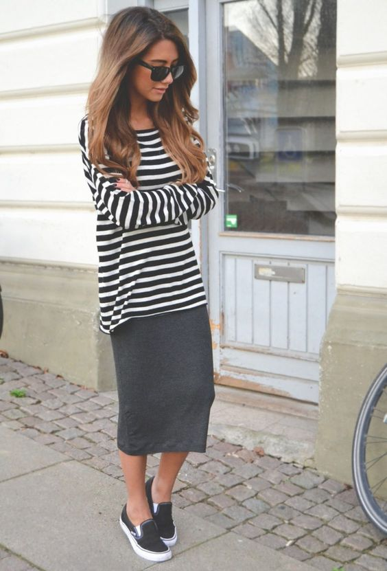 a striped long sleeve, a black midi skirt, black slipons is a very comfy option