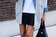 16 a white tee, a denim jacket, a grey cardigan, a black leather mini and neutral booties