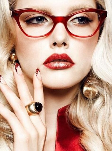 accent your plain work outfit with a pair of bold red rimmed glasses