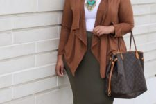16 an olive green skirt, a white top, a brown asymmetrical cardigan, brown heels and a statement necklace
