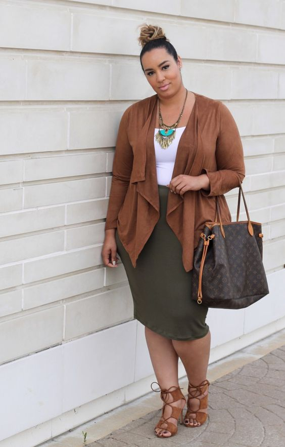 an olive green skirt, a white top, a brown asymmetrical cardigan, brown heels and a statement necklace
