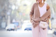 16 pink wide pants, a white top, a tan oversized cardigan, a bkush bag and tassel earrings